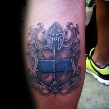 warrior sheild thin blue line leg calf tattoos for men tattoos