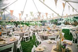 backyard party decorations mixed with round tables in white table