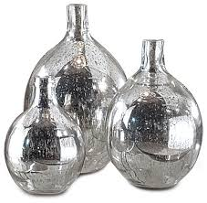 Vase Sets Whitney Hollywood Regency Mercury Glass Sphere Wine Bottles Set