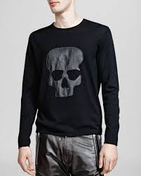 skull sweater lyst the kooples skull sweater in black for