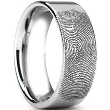 fingerprint wedding bands tungsten carbide ring scratch free everlasting quality best