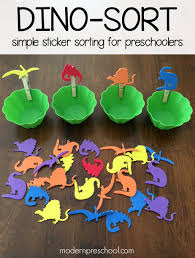 dinosaur sticker sorting for preschoolers