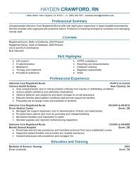 Resume Examples For Registered Nurse by Interesting Telemetry Nurse Resume Sample 64 For How To Make A