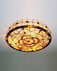round drum shade tiffany geometry flush mount ceiling light