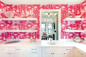 wallpaper above kitchen cabinets white paintable beadboard pink