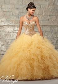 gold quince dresses two tone satin and ruffled tulle with contrasting beaded bodice