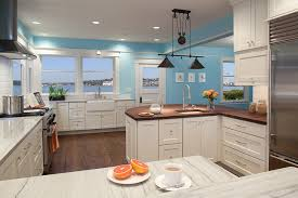 White Cabinets With Blue Walls Sky Blue Walls Houzz