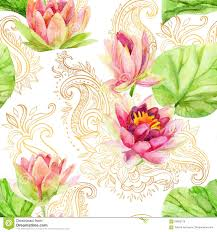 watercolor lotus flower on golden ornament seamless pattern