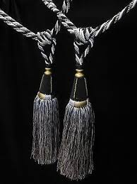 Gold Curtain Tassels Black White U0026 Gold Curtain Tassel Tiebacks Per Pair Tass 33cm