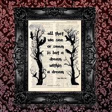 dictionary art print vintage edgar allan poe poem