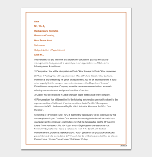 appointment letter manager company appointment letter 17 samples for word doc pdf format