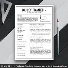 instant download the bailey resume u2013 resumedesignco