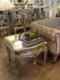 Mirrored Side Table Argente Venetian Mirrored Side Table With Champagne Trim