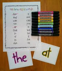 literacy center activities rainbow sight words