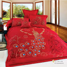 Asian Bedding Sets Wedding Peacock Print Bedding Set