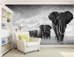 elephant living room custom 3d wallpaper retro black and white simple walking elephant