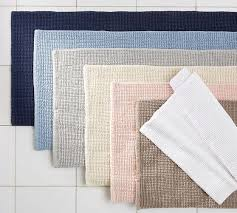 Cotton Bathroom Rugs Textured Organic Bath Rug Pottery Barn