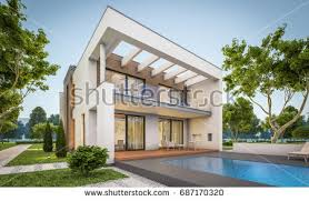 House With Garage 3d Rendering Modern Cozy House Chalet Stock Illustration 674100268