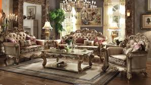 53010 vendome 3pc living room set in gold patina finish bone