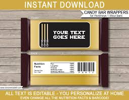 gold star wars party hershey candy bar wrappers hershey labels