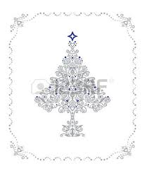 detailed silver tree ornament in a frame royalty free