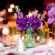 jar floral centerpieces simple centerpiece idea with bright purple flowers not sure