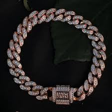 rose link bracelet images Diamond cuban link bracelet 10mm rose gold saint midas jpg