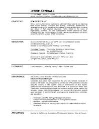 Resume Examples Objective by 28 Sample Resume For Police Officer With No Experience