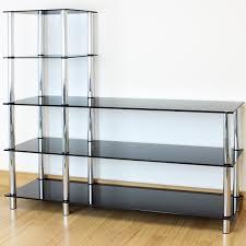 l shape black glass 5 tier shelf display unit office bedroom
