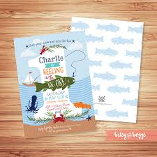Baby Boy First Birthday Invitation Cards Reeling In The Big One Fishing First Birthday Invite