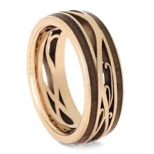 wood rings wedding custom gold wedding band cherry wood ring