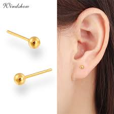 small gold stud earrings 7 size yellow gold color piercing slim small stud