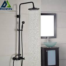 Bathroom Shower Handles Luxury Bronze Black Bathroom Shower Bath Faucet Dual Handles In