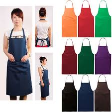 Men Cooking Aprons Solid Color Poly Craft Commercial Restaurant Kitchen Bib Chef