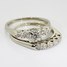 vintage wedding ring sets vintage wedding rings 14k white gold diamond vintage wedding
