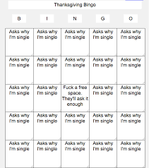 i made a thanksgiving bingo card pictures lol tribe