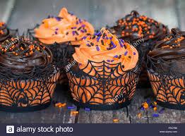 orange and dark chocolate halloween cupcakes against rustic stock
