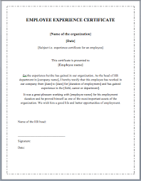 employee experience certificate template u2013 microsoft word templates