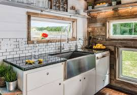 Tiny House Kitchens by Tricked Out Tiny Home Features Garage Door And Custom Deck Curbed