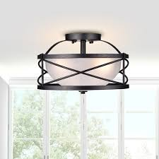 Glass Shade Chandelier Blanca 3 Light Antique Black Finish Opal Glass Shade Semi Flush