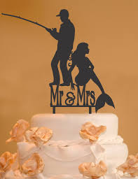 fisherman cake topper fisherman mermaid mr and mrs wedding cake topper mr and