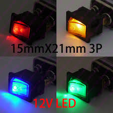 lighted rocker switch 12v 20pcs lot 4model car diy 21 15mm mini rocker switch 3pin with led