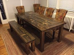 Rustic Farmhouse Dining Table With Bench Corner Dining Table And Bench Set Tags Cool Farmhouse Kitchen