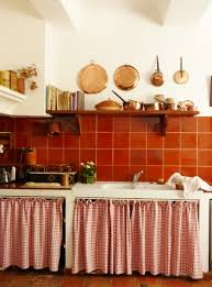 French Kitchen Curtains by French Country Kitchen Uses Cabinet Curtains Instead Of Wood Doors