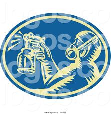 a painter royalty free clip art vector logo of a painter using a spray gun