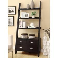 cappuccino 69 inch ladder bookcase with storage drawers free