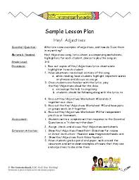 adjectives worksheet packet and lesson plan lesson plan
