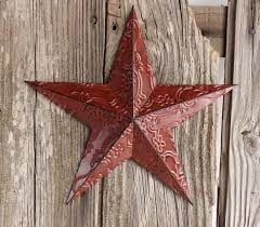 country star decorations home red metal embossed barn star barn stars primitive decor
