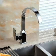 kitchen sink faucet mixer tap swivel spout chrome brass square