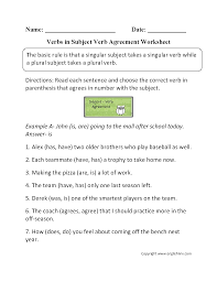 collection of solutions making subjects and verbs agree worksheets